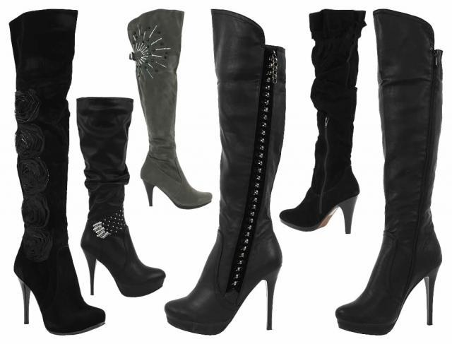 60 p damen stiefel high heels lederimitat applikationen schwarz grau gr 36 41 nur 12 50 euro. Black Bedroom Furniture Sets. Home Design Ideas