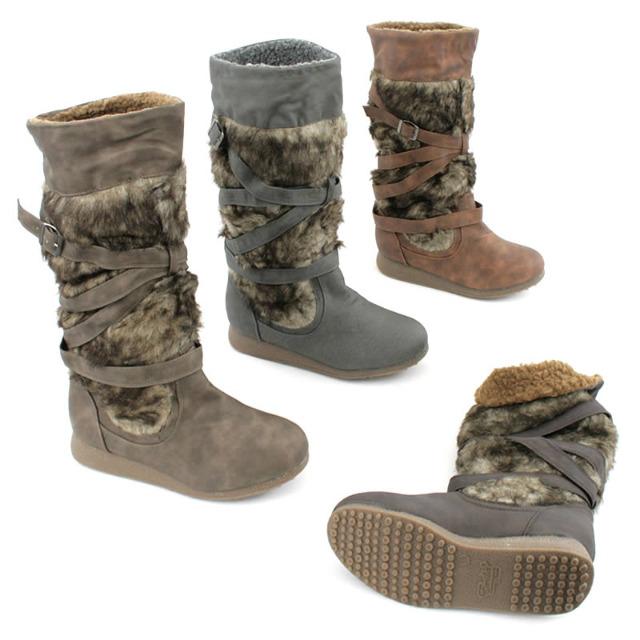 damen fell herbst winter stiefel schuhe boots auf. Black Bedroom Furniture Sets. Home Design Ideas