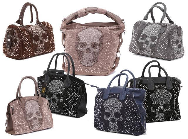 440a901123743 Damen Taschen Bag Handtasche Umhängetasche Strass Totenkopf Skull ...