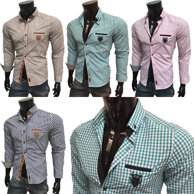 Herren Freizeit Business Hemden Langarm Oberteile