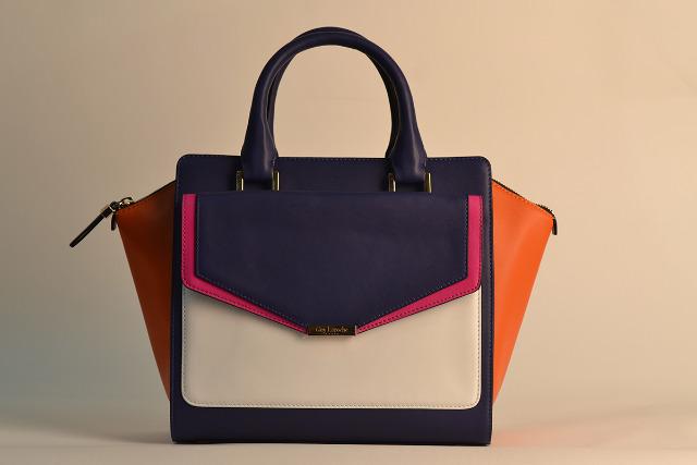 Lederhandtasche in Weiß/Orange/Fuchsia/Blau