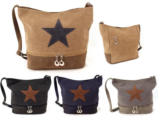 0240a75065bfa Damen Taschen Stern Mix Canvas Unifarbend Stoff Kunstleder ...