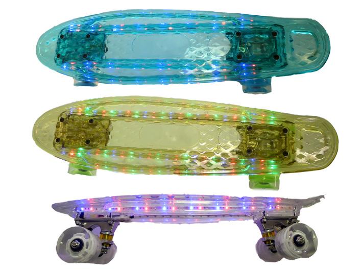 penny board mini skateboard transparent 56cm mit led lichtband auf. Black Bedroom Furniture Sets. Home Design Ideas
