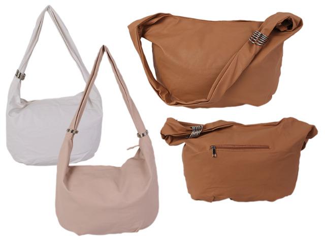 Damen Taschen Tasche Shopper Kunstleder Uni Umhängetasche ...