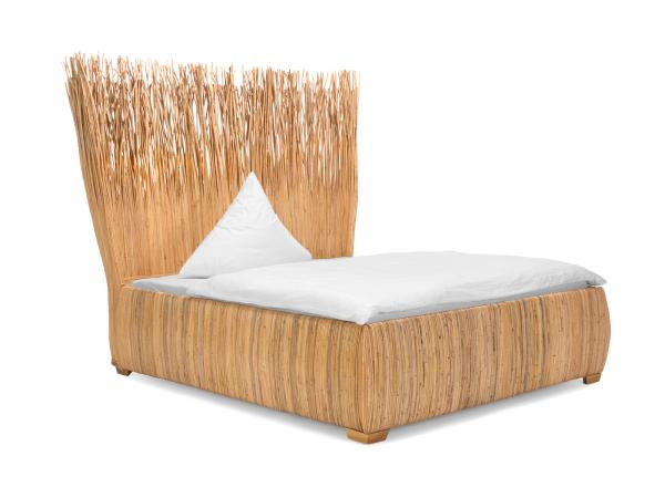 Bett 180 x 200 cm aus edlem Kubu-Geflecht