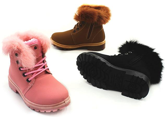 51ec77813ee319 Kinder Mädchen Trend Stiefeletten Fell Boots Stiefel Halbstiefel ...