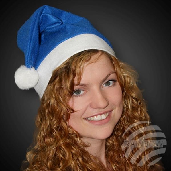 WM-31 Weihnachtsmützen Nikolausmützen blau mit weißem Bommel