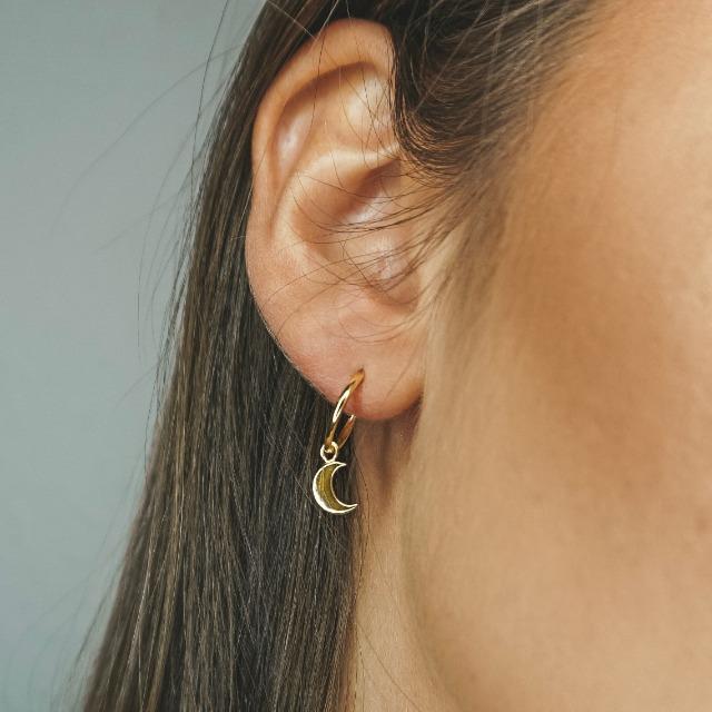 Shop für neueste großer Diskontverkauf besserer Preis Ohrringe Gold mit Anhänger Mond und Stern. Creolen aus 925 ...